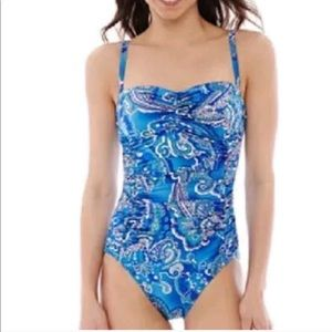 Robby Len blue and White Bathing Suit Size 8